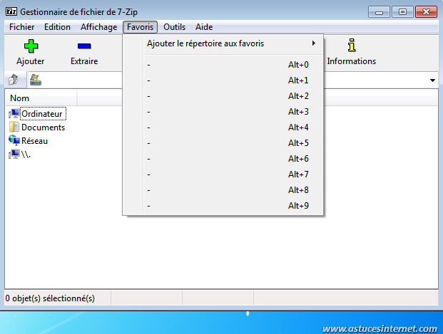 7-zip : Interface et menus