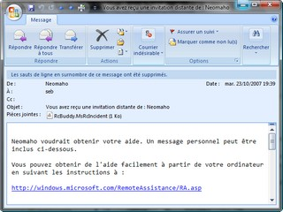 Email d'invitation