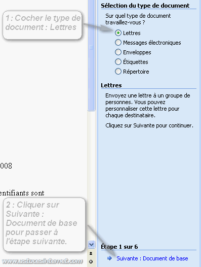 Publipostage : Type de document