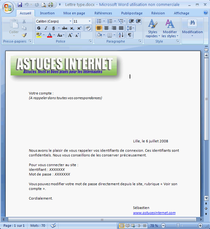 exemple de lettre word 2007
