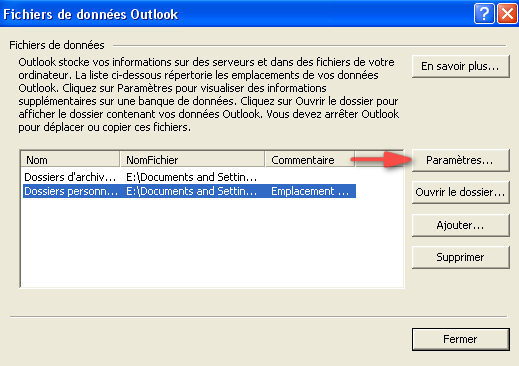 emplacement pst outlook 2007