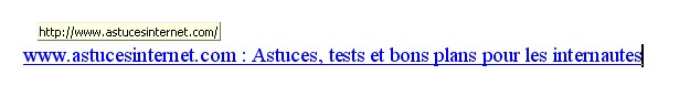 Insertion lien hypertexte