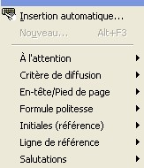 Types d'insertion automatique