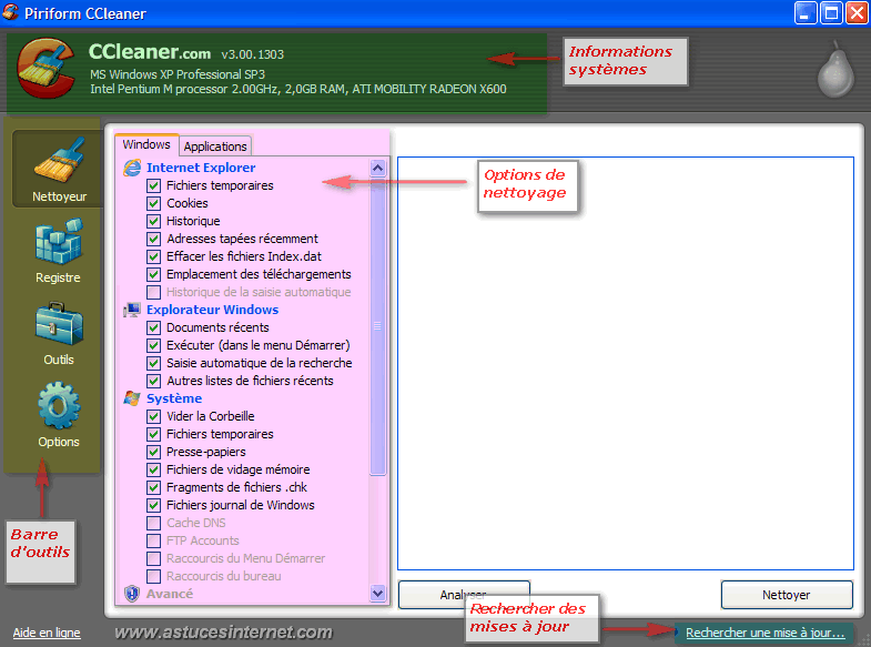 Interface de CCleaner