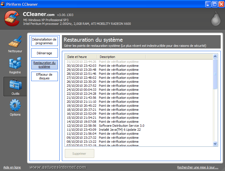CCleaner : Outils