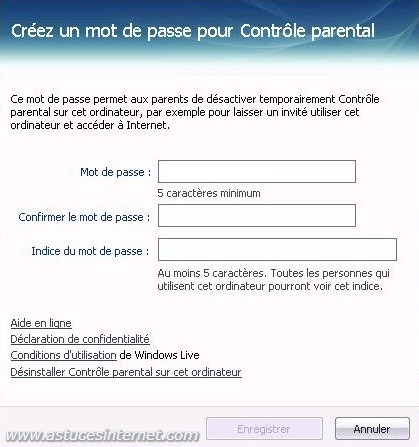 Cr�ation du mot de passe