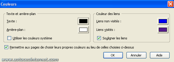 Option de paramétrage de Firefox 2.0 : Couleurs