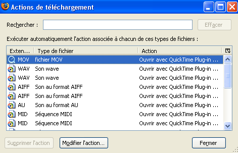 Option de paramétrage de Firefox 2.0 : Types de fichiers