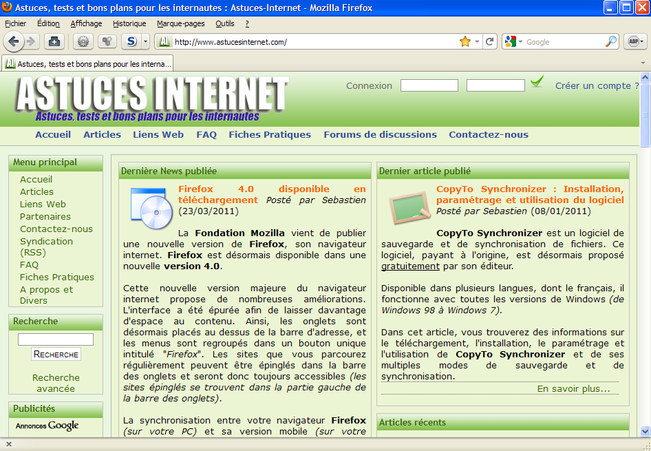 Interface de Firefox 4