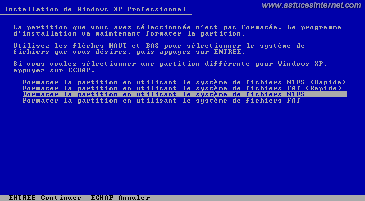 Installation de Windows (formatage)