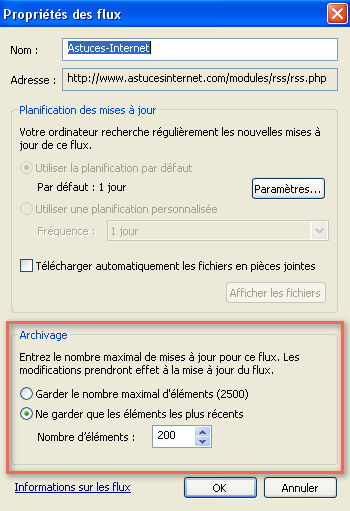 Archivage d'un flux RSS