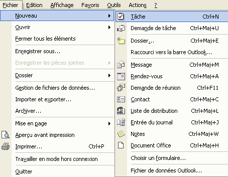 Outlook : le menu Fichier
