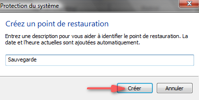 Cr�er un point de restauration