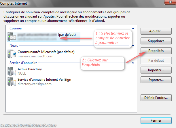 Windows Mail : Compte Internet