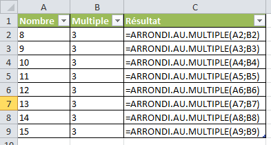 Excel : Arrondi au multiple