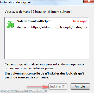 Installation de l'extension Video DownloadHelper