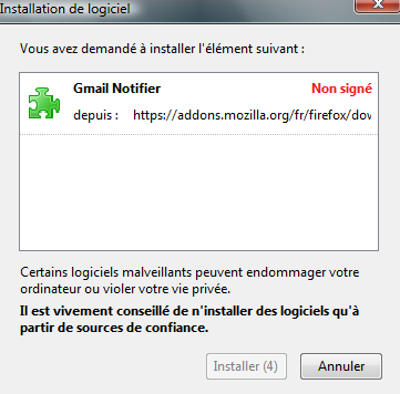 Confirmer l'installation de l'extension