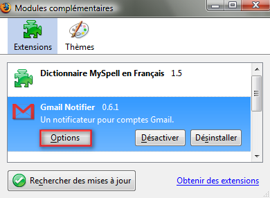 Param�trage des options de Gmail Notifier