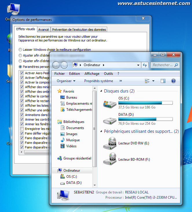 Astuces internet syst me d exploitation windows 7 for Affichage fenetre miniature windows 7