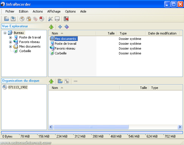 Interface du logiciel InfraRecorder