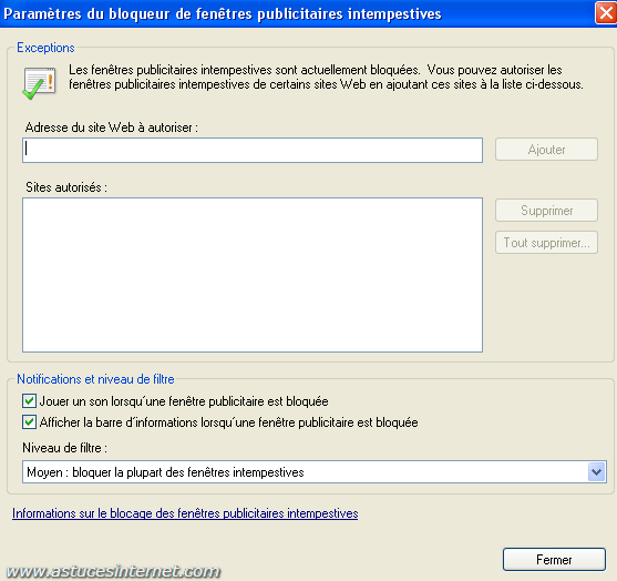 Internet explorer 7 tutorial articles astuces internet for Bloqueur de fenetre publicitaire