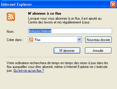 Enregistrer le flux RSS