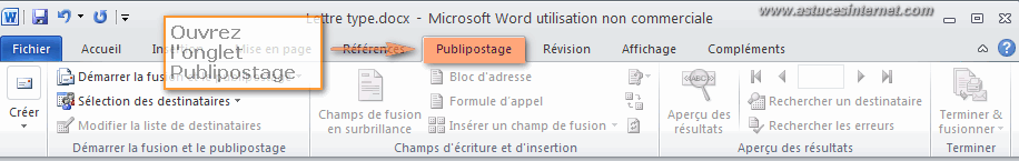 Publipostage Word 2010