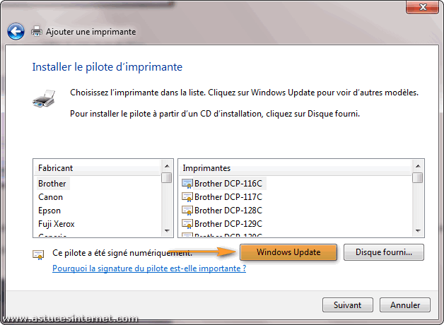 Installation imprimante r�seau sur Windows 7