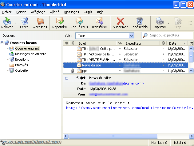 Interface de Thunderbird
