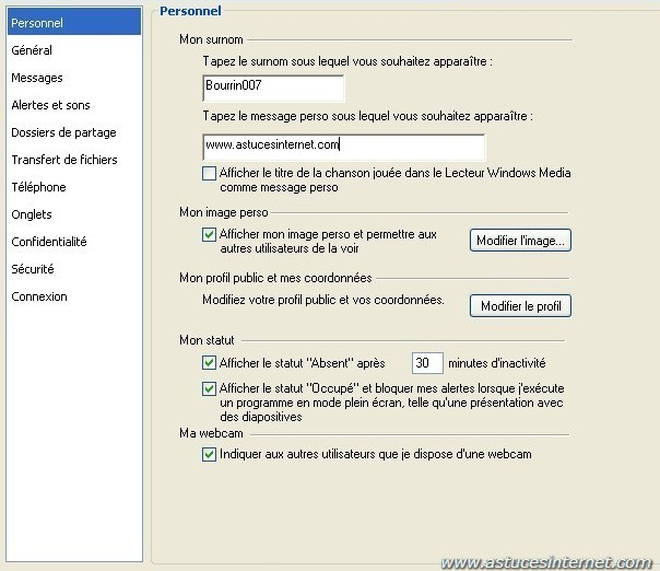 option de windows live  messenger
