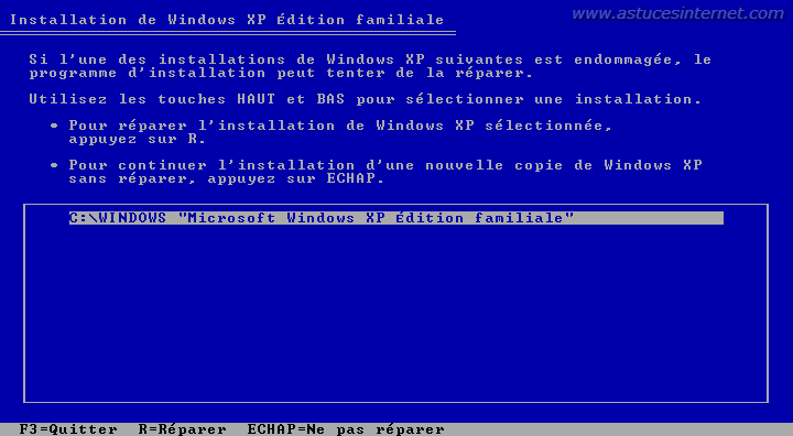 R�parer Windows XP