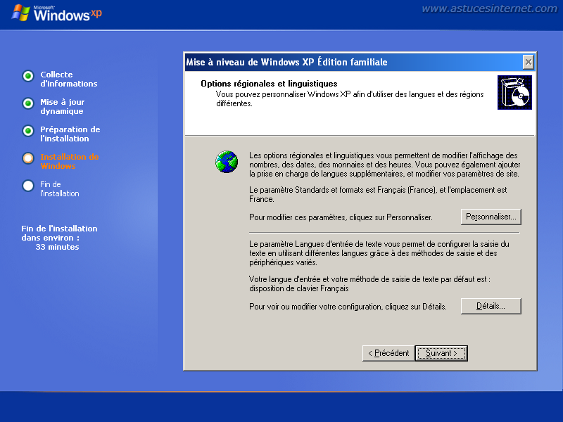Installation de Windows XP : Paramétrage des options linguistiques