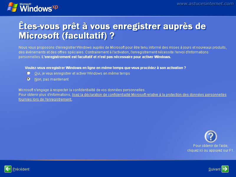 Installation de Windows XP : enregistrement