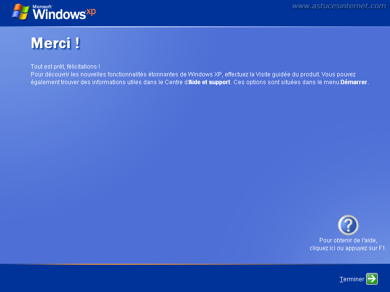 Installation de Windows XP : Fin