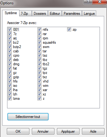 7-zip : Menu options