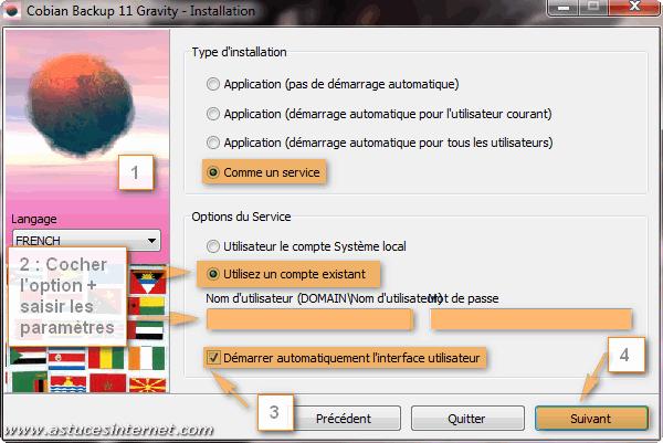 Installation Cobian Backup