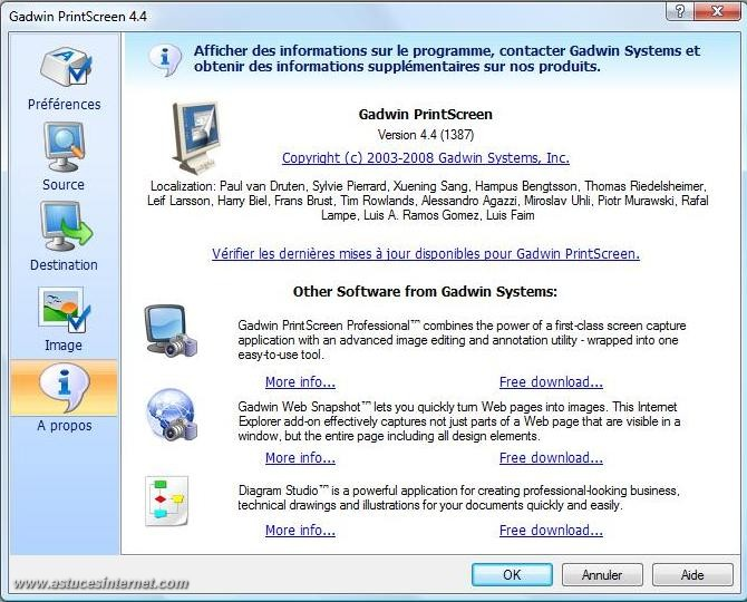 Gadwin PrintScreen : Installation, paramétrage et
