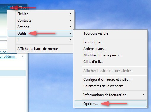 Menu Options de Windows Live Messenger