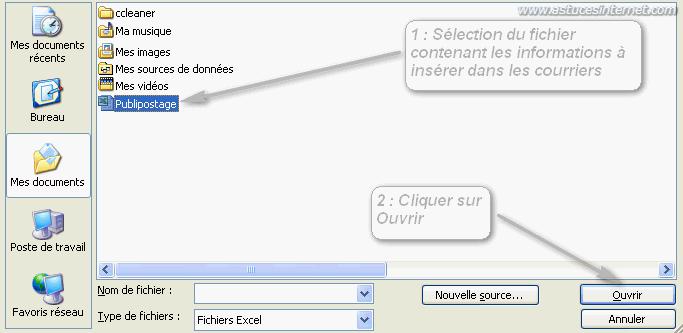 Publipostage : Sélection de la liste de données