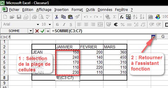 Sélection des données sur la feuille de calcul
