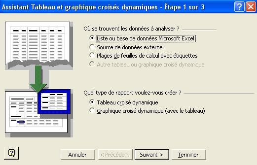 Assistant création tableau croisé dynamique (étape 1)