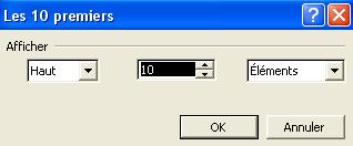 Option du filtre 10 premiers