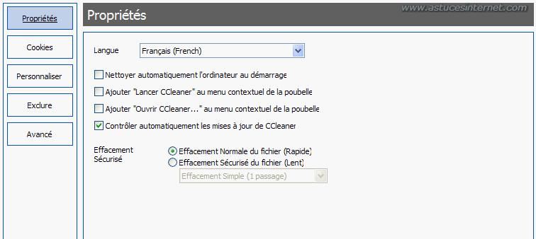 Paramétrage de CCleaner
