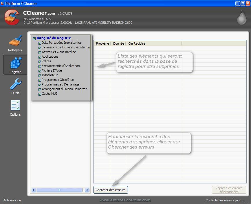 Nettoyage du registre avec CCleaner