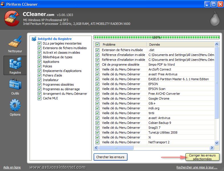 CCleaner : Nettoyer le registre