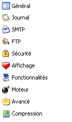 Menu option de Cobian Backup
