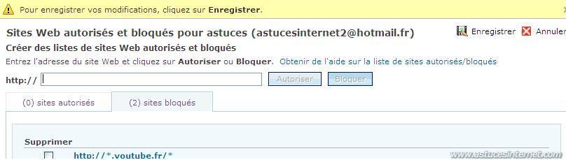 Blocage d'une URL