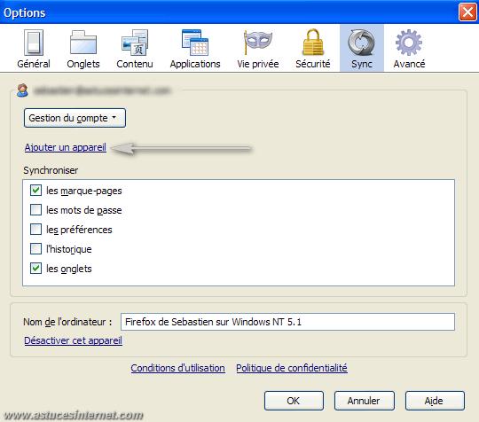 Configuration de Sync