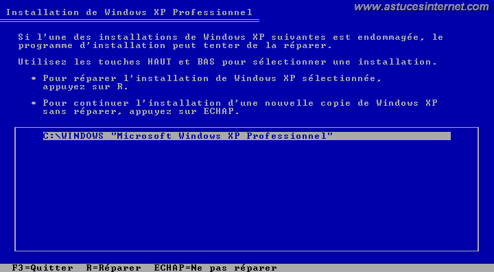 INstallation de windows détectée