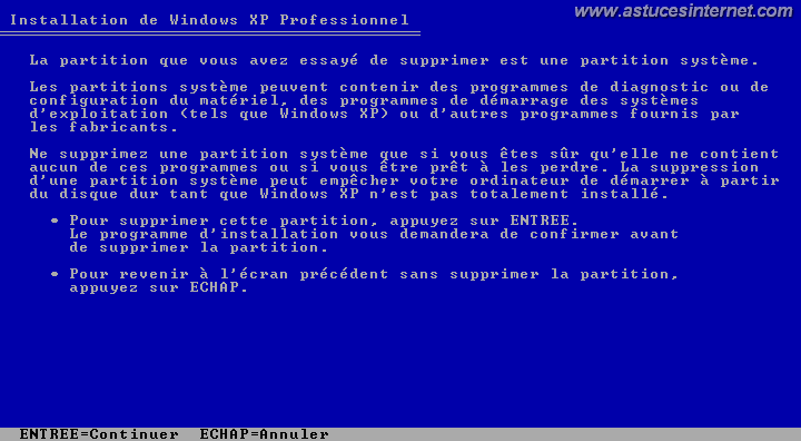Mise en garde avant suppression de la partition